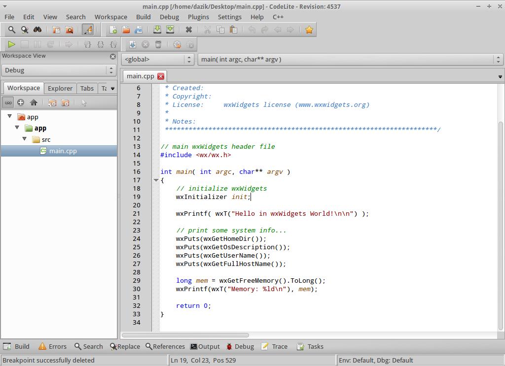 CodeLite for Linux - Free Download - Zwodnik