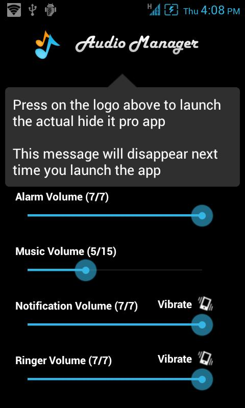 Audio manager (hide it pro) for android version 3. 0. 2 | free.