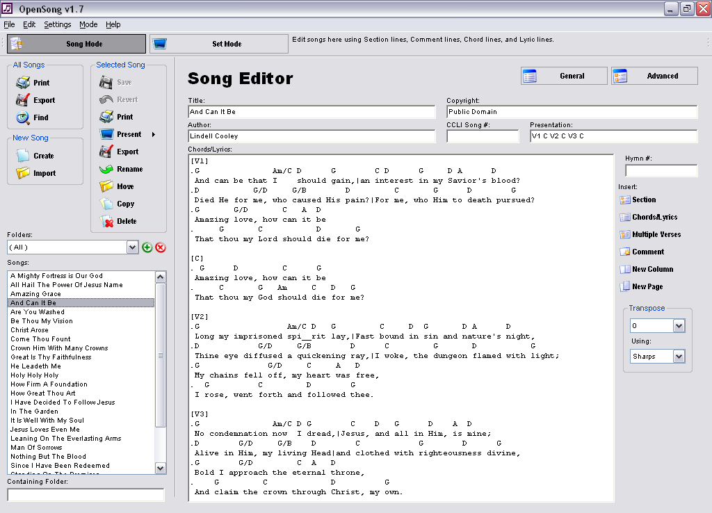OpenSong for Windows - Free Download - Zwodnik