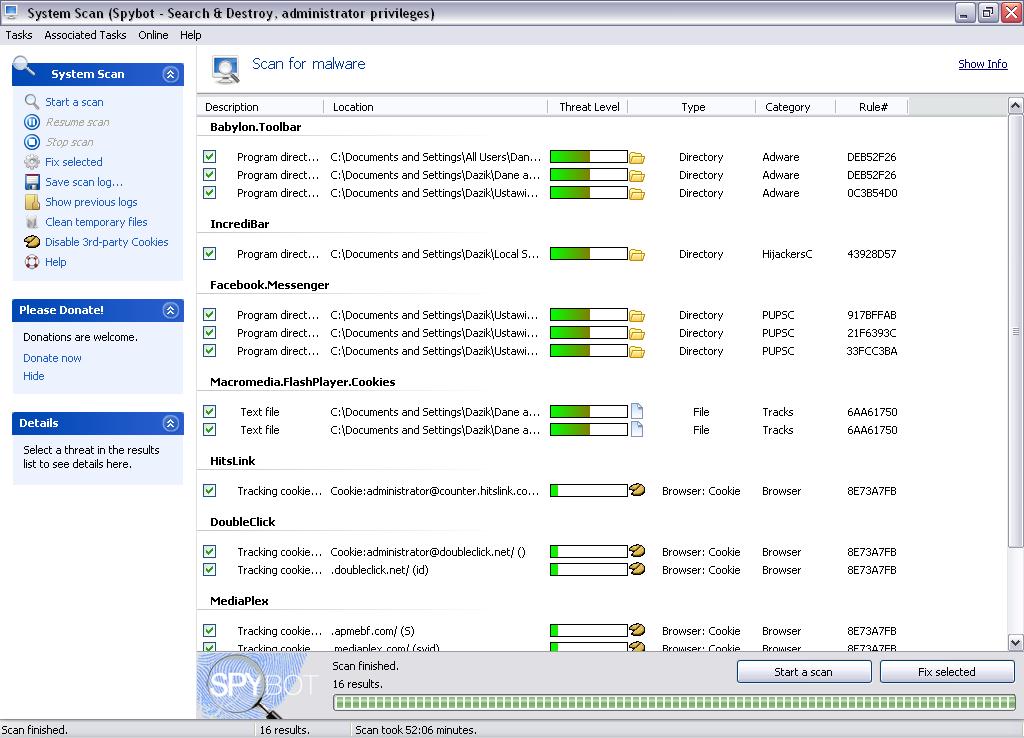 Spybot Search Destroy Freeware
